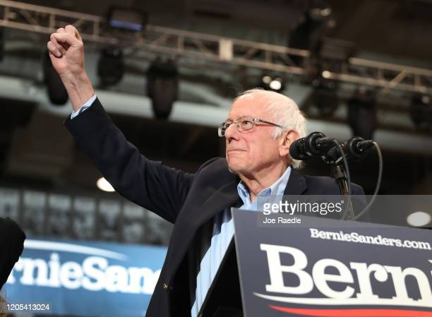 Democratic presidential candidate Sen Bernie Sanders speaks at a campaign event at the Whittemore Center Arena on February 10 2020 in Durham New...