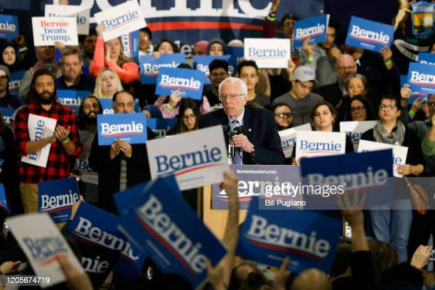 Democratic presidential candidate Sen. Bernie Sanders speaks at a campaign rally at Salina Intermediate School on March 7, 2020 in Dearborn,...