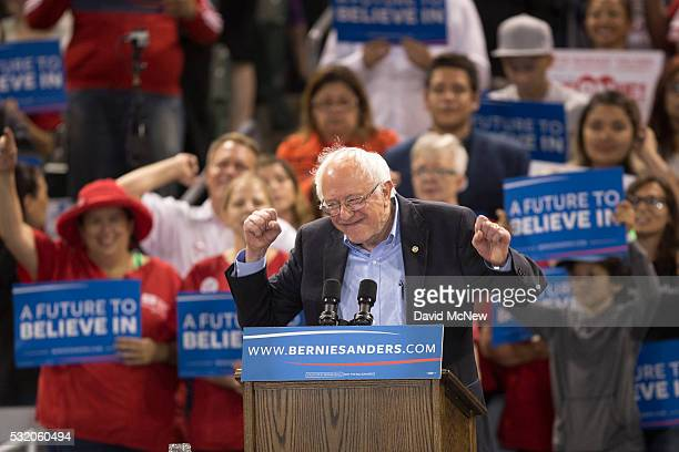 Democratic presidential candidate Sen Bernie Sanders speaks at a campaign rally at California State University Dominguez Hills on May 17 2016 in...