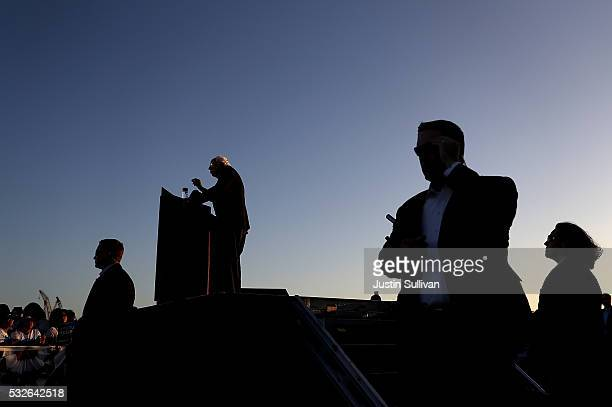Democratic presidential candidate Sen Bernie Sanders speaks at a campaign rally at Waterfront Park on May 18 2016 in Vallejo California A day after...