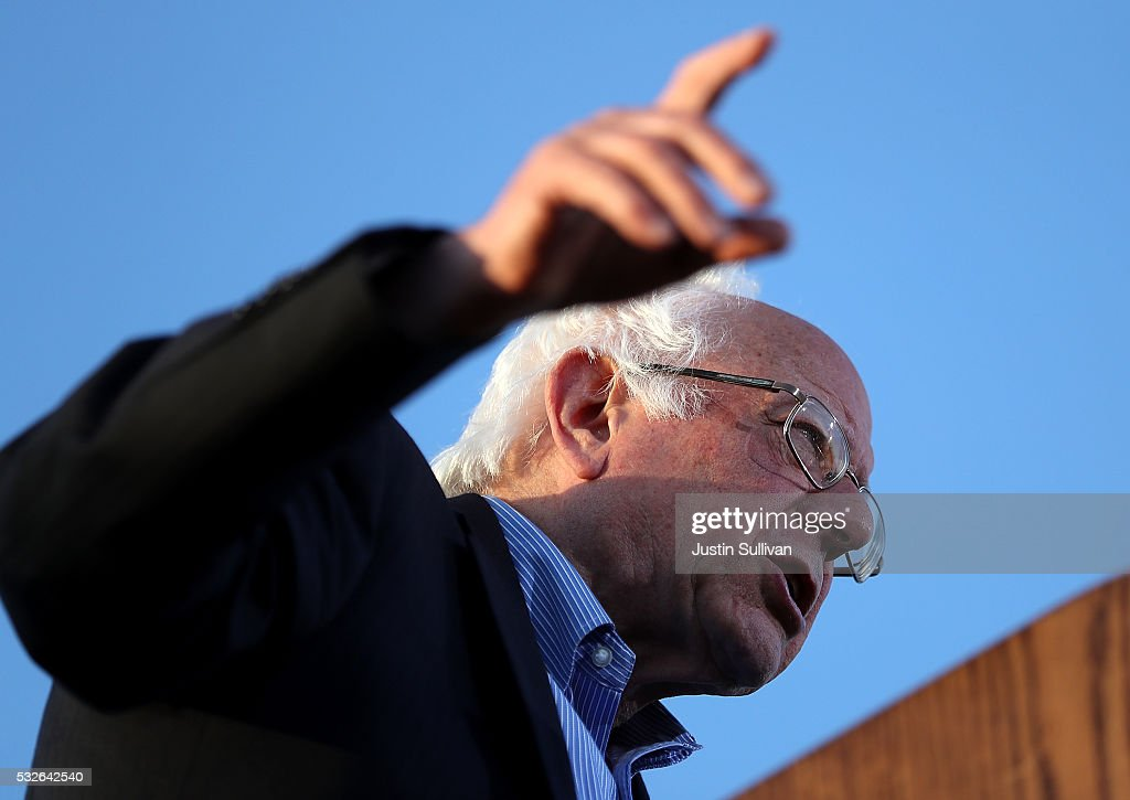 Democratic presidential candidate Sen. Bernie Sanders speaks at a campaign rally at Waterfront Park on May 18, 2016 in Vallejo, California. A day after winning the Oregon primary, Bernie Sanders is campaigning in California ahead of the state's presidential primary on June 7.