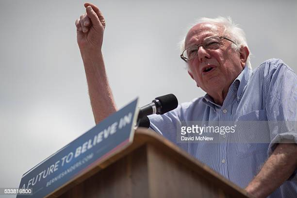 Democratic presidential candidate Sen Bernie Sanders speaks at a campaign rally at Lincoln Park on May 23 2016 in East Los Angeles California...