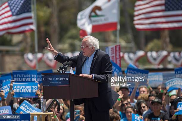 Democratic presidential candidate Sen Bernie Sanders speaks at a campaign rally at VenturaÊCollege on May 26 2016 in Ventura California The...