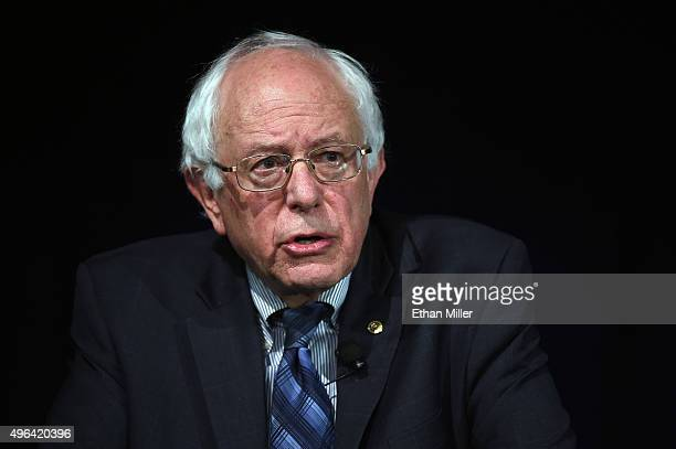 Democratic presidential candidate Sen Bernie Sanders speaks at a forum organized by the Fair Immigration Reform Movement and The Nation magazine at...