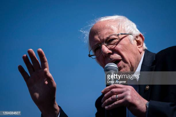 Democratic presidential candidate Sen Bernie Sanders speaks at a campaign rally on February 28 2020 in Aiken South Carolina South Carolina holds its...