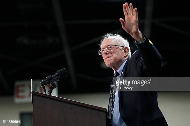 Democratic presidential candidate Sen Bernie Sanders speaks at a campaign event on March 11 2016 in Toledo Ohio Sanders is campaigning in Ohio ahead...