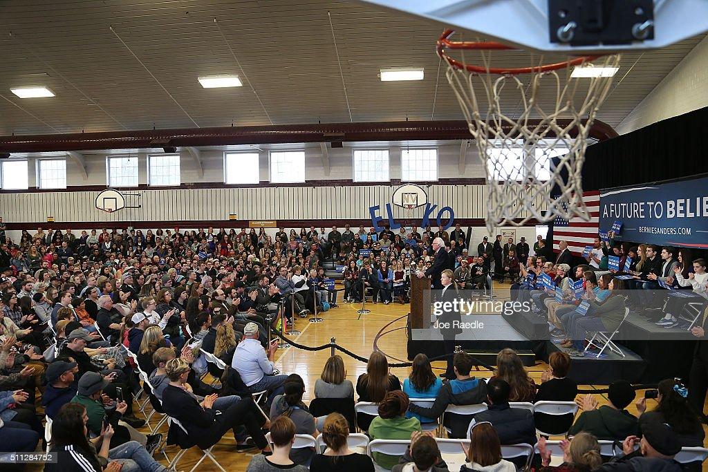 Democratic presidential candidate Sen. Bernie Sanders (D-VT) speaks at a town meeting at the Elmo High School gymnasium as he continues to campaign on February 19, 2016 in Elko, Nevada. Sanders is challenging Hillary Clinton for the Democratic presidential nomination ahead of Nevada's February 20 Democratic caucus.