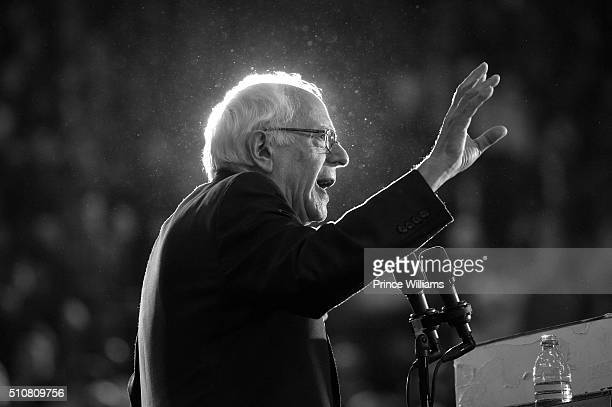 Democratic Presidential Candidate Sen Bernie Sanders speaks at Bernie Sanders HBCU Tour and Rally at Atlanta University Center on February 16 2016 in...