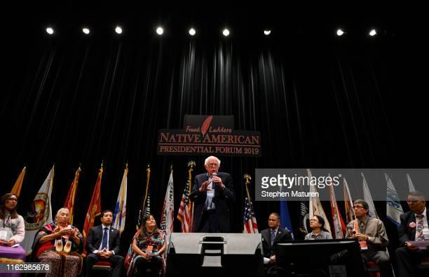 Democratic presidential candidate Sen Bernie Sanders speaks at the Frank LaMere Native American Presidential Forum on August 20 2019 in Sioux City...