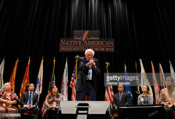 Democratic presidential candidate Sen Bernie Sanders speaks at the Frank LaMere Native American Presidential Forum on August 20 2019 in Sioux City...