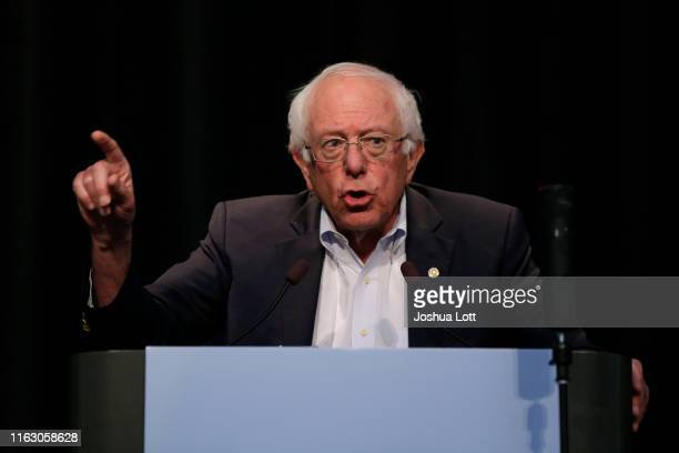 Democratic presidential candidate Sen Bernie Sanders speaks at the Iowa Federation Labor Convention on August 21 2019 in Altoona Iowa Candidates had...