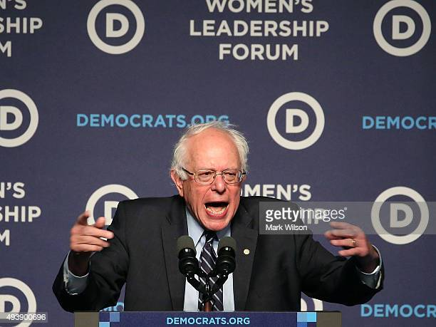 Democratic Presidential candidate Sen Bernie Sanders speaks at the Democratic National Committee's Women's Leadership Forum October 23 2015 in...