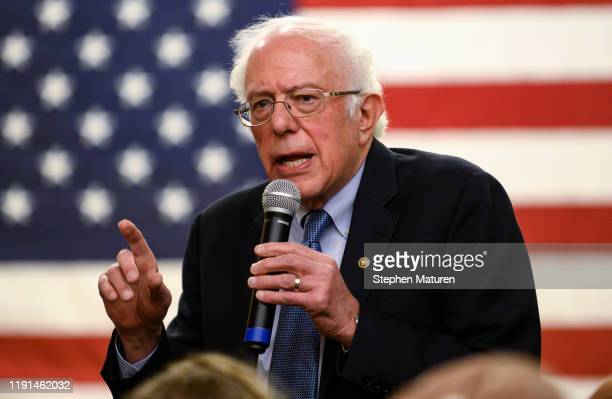 Democratic presidential candidate Sen. Bernie Sanders speaks at town hall at the National Motorcycle Museum on January 3, 2020 in Anamosa, Iowa. Sen....