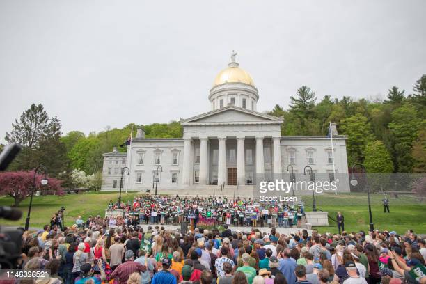 Democratic presidential candidate Sen. Bernie Sanders speaks during a rally in the capital of his home state of Vermont on May 25, 2019 in...