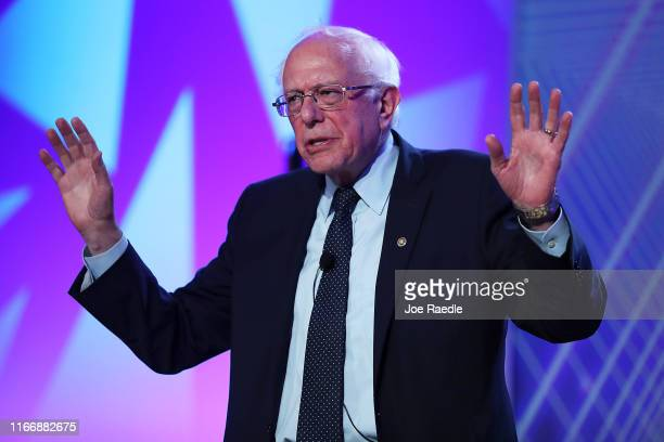 Democratic presidential candidate Sen Bernie Sanders speaks during a US Presidential Candidates Forum at the 2019 NABJ Annual Convention Career Fair...