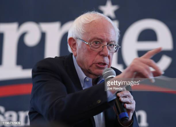 Democratic presidential candidate Sen Bernie Sanders speaks during a campaign event at NOAH's Events Venue on December 30 2019 in West Des Moines...