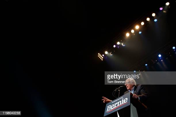 Democratic presidential candidate Sen. Bernie Sanders speaks during a campaign rally at the U.S. Bank Arena on February 1, 2020 in Cedar Rapids,...