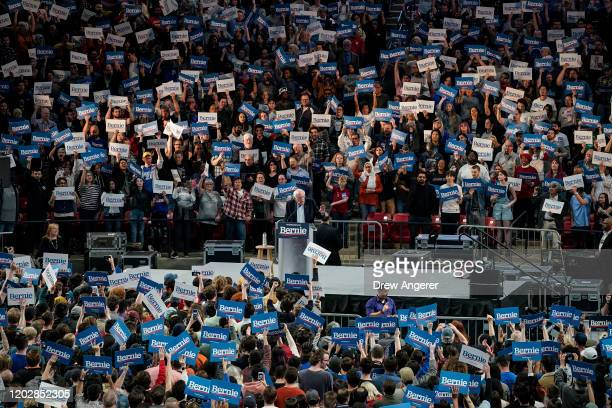 Democratic presidential candidate Sen. Bernie Sanders speaks during a campaign rally at the University of Houston on February 23, 2020 in Houston,...