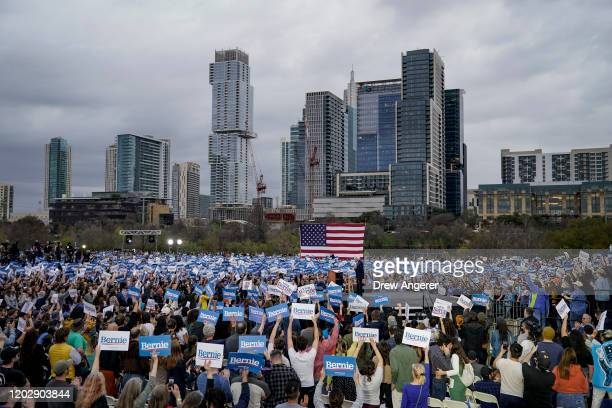 Democratic presidential candidate Sen. Bernie Sanders speaks during a campaign rally at Vic Mathias Shores Park on February 23, 2020 in Austin,...