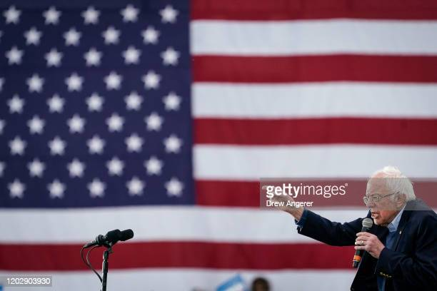 Democratic presidential candidate Sen Bernie Sanders speaks during a campaign rally at Vic Mathias Shores Park on February 23 2020 in Austin Texas...