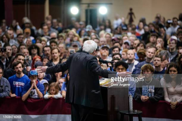 Democratic presidential candidate Sen Bernie Sanders speaks during a campaign rally at the Charleston Area Convention Center on February 26 2020 in...