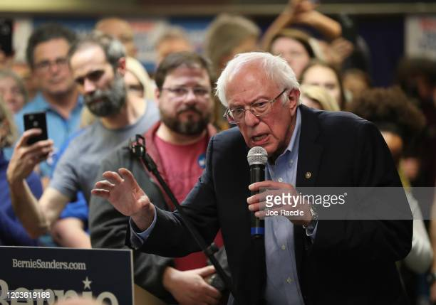Democratic presidential candidate Sen. Bernie Sanders speaks during a stop at a campaign field office on February 02, 2020 in West Newton, Iowa....