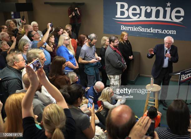 Democratic presidential candidate Sen Bernie Sanders speaks during a stop at a campaign field office on February 02 2020 in West Newton Iowa Iowa's...