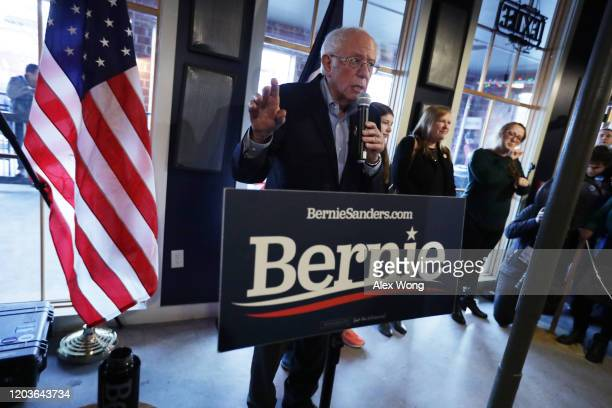 Democratic presidential candidate Sen Bernie Sanders speaks during a campaign event at Ingersoll Tap February 2 2020 in Des Moines Iowa The Iowa...