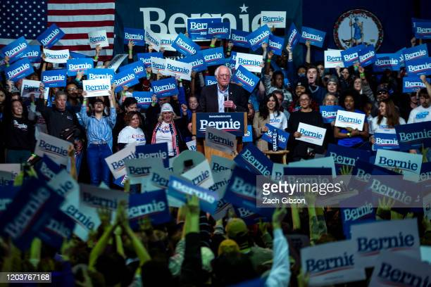 Democratic presidential candidate Sen Bernie Sanders speaks during a rally at the Arthur Ashe Junior Athletic Center on February 27 2020 in Richmond...