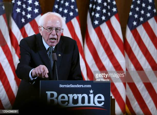 Democratic presidential candidate Sen Bernie Sanders speaks during a State of the Union Response on February 04 2020 in Manchester New Hampshire...