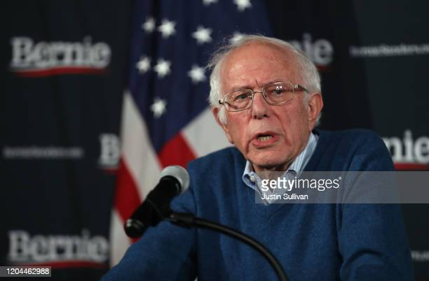 Democratic Presidential Candidate Sen Bernie Sanders speaks during a press conference at his New Hampshire campaign headquarters on February 06 2020...