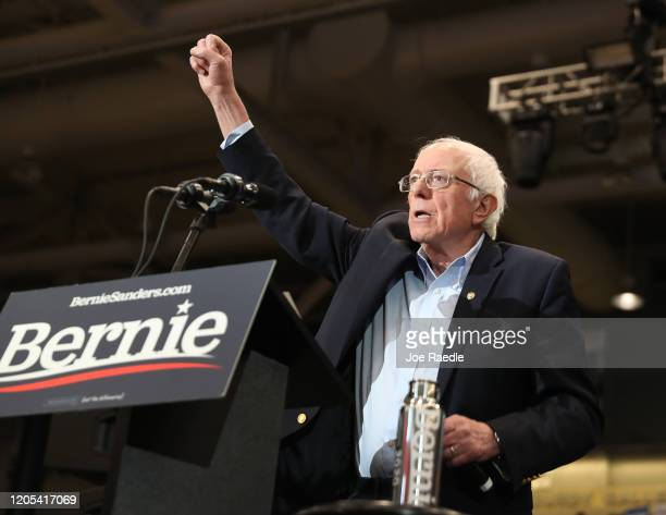Democratic presidential candidate Sen Bernie Sanders speaks during a campaign event at the Whittemore Center Arena on February 10 2020 in Durham New...