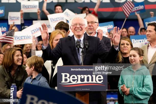 Democratic presidential candidate Sen Bernie Sanders speaks during a primary night event on February 11 2020 in Manchester New Hampshire New...