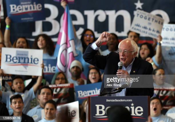 """Democratic presidential candidate Sen Bernie Sanders speaks during a """"Get Out the Early Vote Rally"""" at Desert Pines High School February 15 2020 in..."""