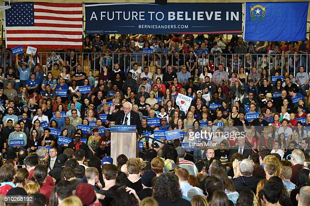 Democratic presidential candidate Sen Bernie Sanders speaks during a campaign rally at Bonanza High School on February 14 2016 in Las Vegas Nevada...