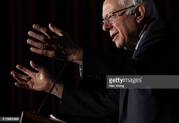 Democratic presidential candidate Sen Bernie Sanders speaks during a campaign event at University of South Carolina February 16 2016 in Columbia...