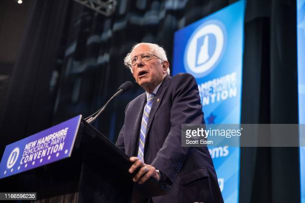 Democratic presidential candidate Sen Bernie Sanders speaks during the New Hampshire Democratic Party Convention at the SNHU Arena on September 7...