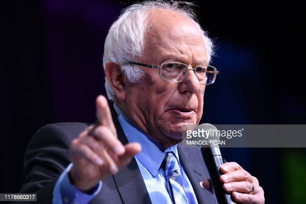 Democratic presidential candidate Sen Bernie Sanders speaks during the 2019 J Street National Conference at the Walter E Washington Convention Center...