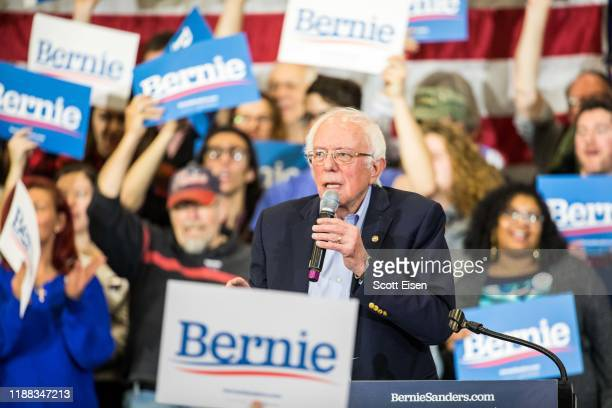 Democratic presidential candidate Sen Bernie Sanders speaks during his event at Nashua Community College on December 13 2019 in Nashua New Hampshire...