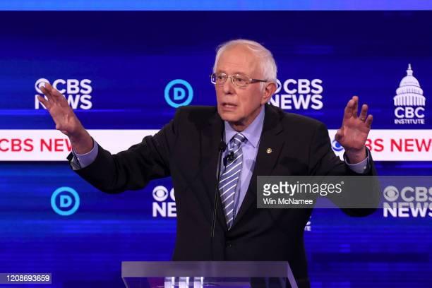 Democratic presidential candidate Sen Bernie Sanders speaks during the Democratic presidential primary debate at the Charleston Gaillard Center on...