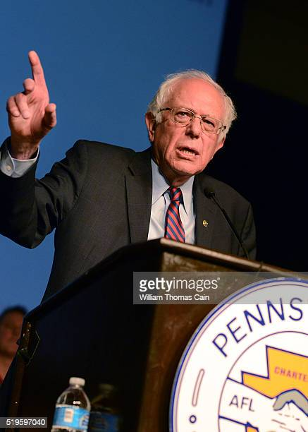 Democratic presidential candidate Sen Bernie Sanders speaks during the AFLCIO Convention at the Downtown Sheraton Philadelphia on April 7 2016 in...