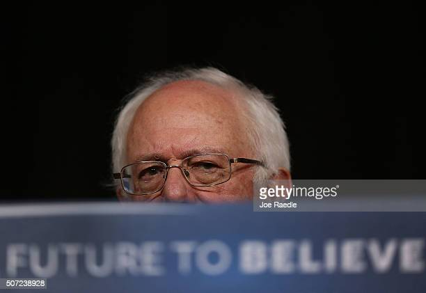 Democratic presidential candidate Sen Bernie Sanders speaks from behind his podium during a forum at Roosevelt High School on January 28 2016 in Des...