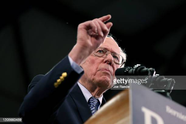 Democratic presidential candidate Sen Bernie Sanders speaks on stage during a primary night event on February 11 2020 in Manchester New Hampshire New...