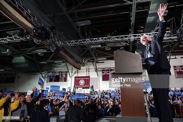 Democratic presidential candidate Sen Bernie Sanders speaks on stage after declaring victory over Hillary Clinton in the New Hampshire Primary...