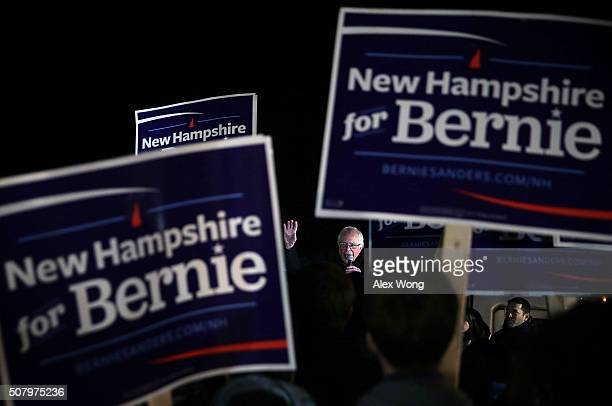 Democratic presidential candidate Sen Bernie Sanders speaks to supporters February 2 2016 in Concord New Hampshire Sanders placed a visit to a group...