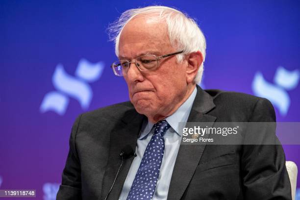 Democratic presidential candidate Sen Bernie Sanders speaks to a crowd at the She The People Presidential Forum at Texas Southern University on April...
