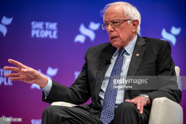 Democratic presidential candidate Sen. Bernie Sanders speaks to a crowd at the She The People Presidential Forum at Texas Southern University on...