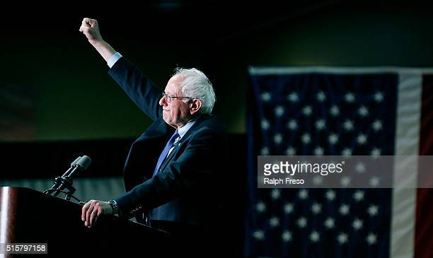 Democratic presidential candidate Sen. Bernie Sanders speaks to a crowd gathered at the Phoenix Convention Center during a campaign rally on March...