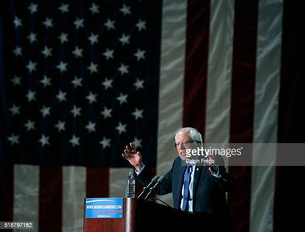 Democratic presidential candidate Sen Bernie Sanders speaks to a crowd gathered at the Phoenix Convention Center during a campaign rally on March 15...