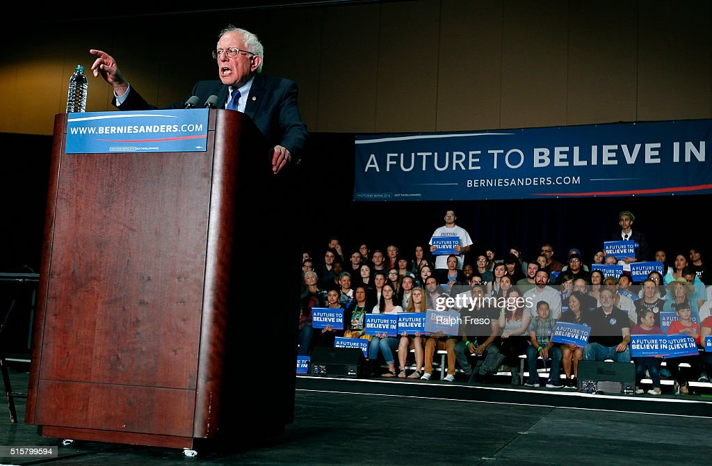 Democratic presidential candidate Sen. Bernie Sanders (D-VT) speaks to a crowd gathered at the Phoenix Convention Center during a campaign rally on March 15, 2016 in Phoenix, Arizona. Hillary Clinton won the Democratic primary elections in Florida, North Carolina and Ohio, while Missouri and Illinois remain tight races.